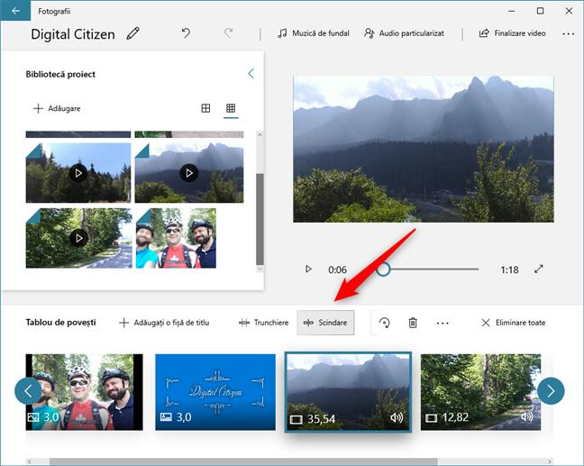 În Editor video, poți să decupezi sau să împarți clipurile video