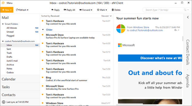 email, Windows