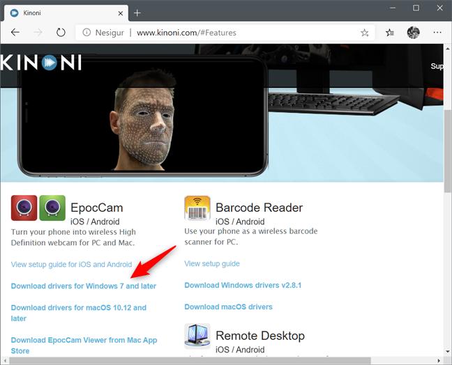 Descărcarea driverelor pentru Windows de pe saitul Kinoni EpocCam