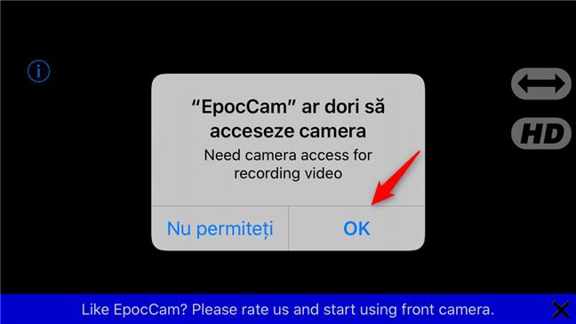 Permisiunea EpocCam de a accesa camera de pe un iPhone