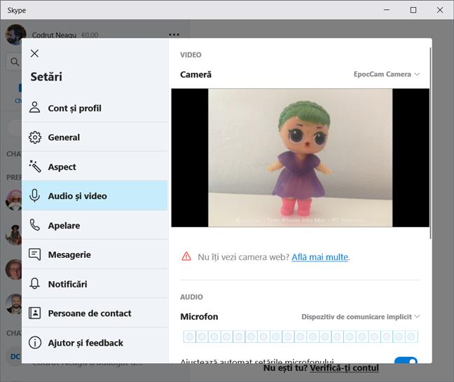 Folosirea unui iPhone drept webcam pentru Skype, în Windows 10