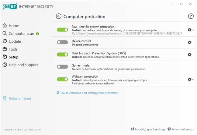 Setările din ESET Internet Security