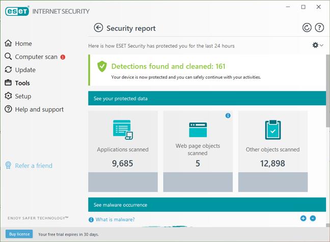 Rapoarte și jurnale de securitate disponibile în ESET Internet Security