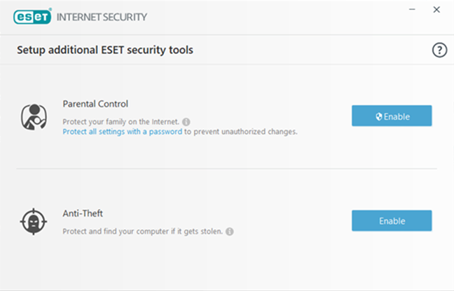Selectarea instrumentelor de securitate suplimentare oferite de ESET