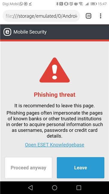 ESET Mobile Security blocând o pagină web de phishing