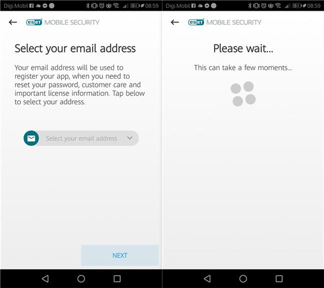 Selectarea adresei de email utilizate pentru înregistrarea ESET