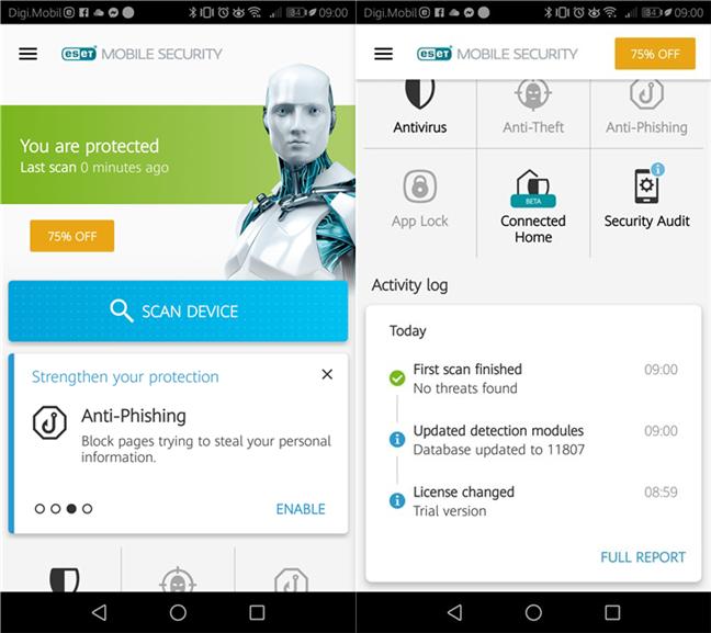 Pagina de pornire a ESET Mobile Security pentru Android
