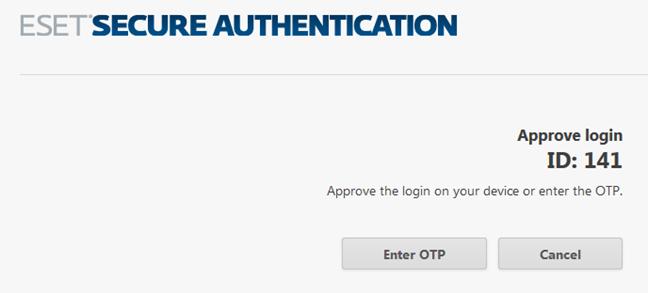 Mesajul de aprobare a conectării din aplicația ESET Secure Authentication