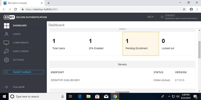 Consola web ESET Secure Authentication pentru instalarea de sine stătătoare