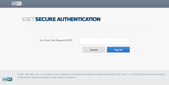 Pagina web ESET Secure Authentication din aplicațiile web