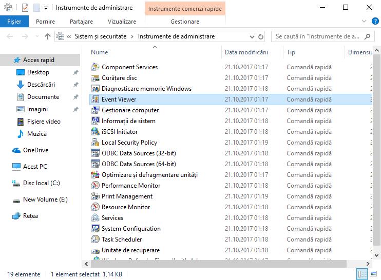 Event Viewer, Windows, Vizualizator Evenimente