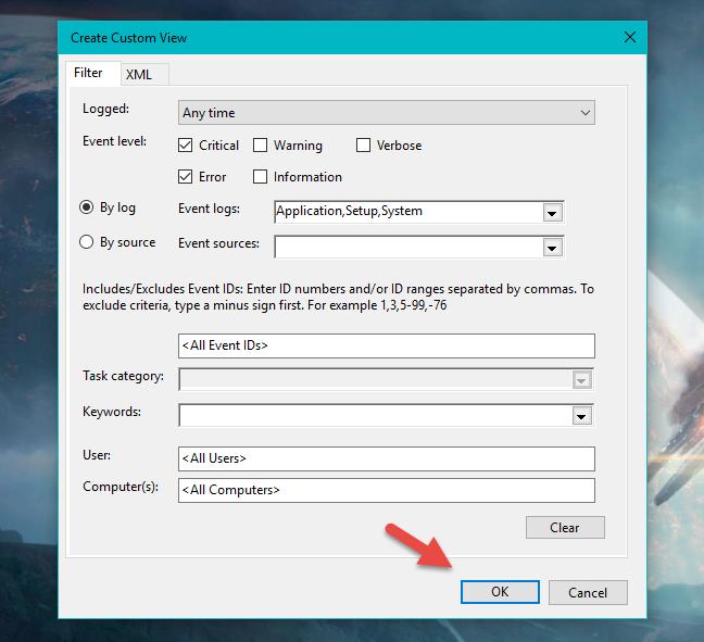 Custom Views, Event Viewer, Vizualizari personalizate, Windows