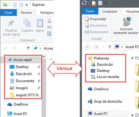 File Explorer, diferente, Windows 10, Windows 8.1
