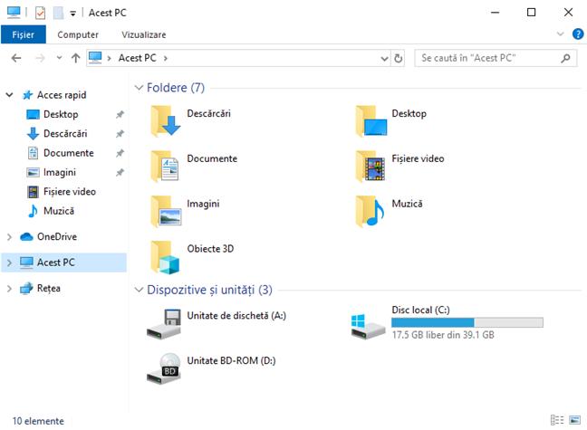 Secțiunea Acest PC din Explorer