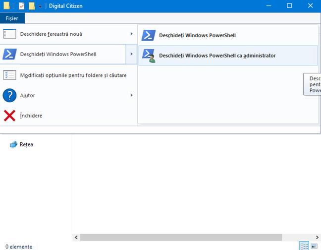 Deschide PowerShell într-un folder anume