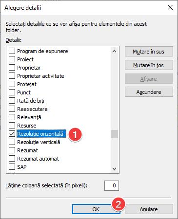 Selectează un câmp suplimentar pentru afișare în vizualizarea Detalii