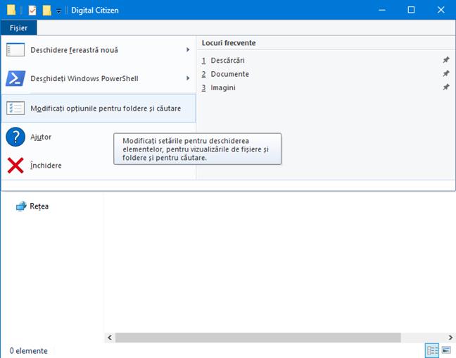 Accesează Opțiuni folder pentru File Explorer