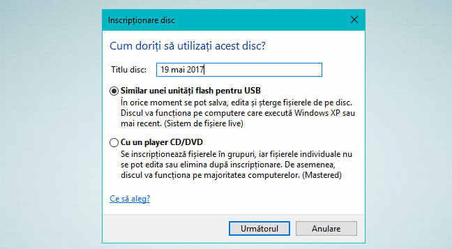 Windows, File, Explorer, inscriptionare disc