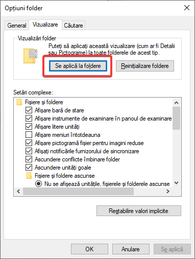 Aplică schimbările de șablon la toate folderele folosind același șablon
