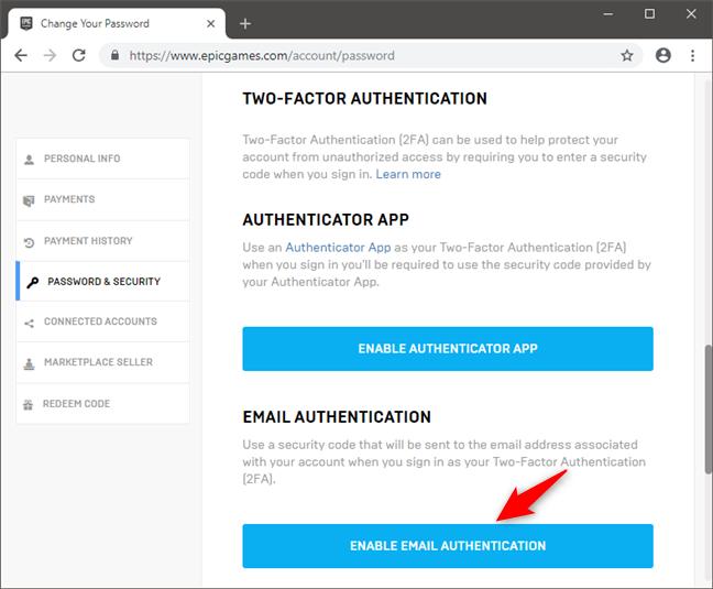 Opțiunea de a activa autentificarea în doi pași prin email