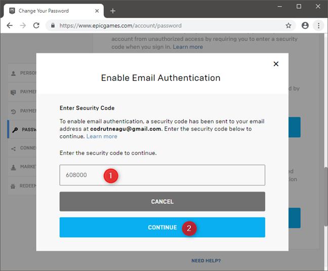 Introducerea codului de securitate primit prin email