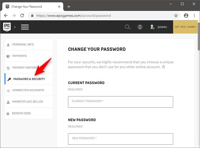 Accesarea secțiunii Password & Security