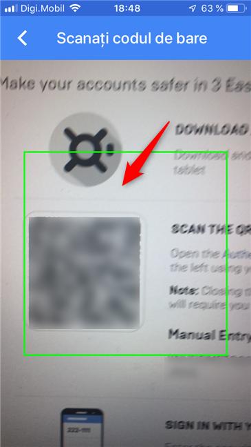 Scanarea codului QR generat de Epic Games (Fortnite)