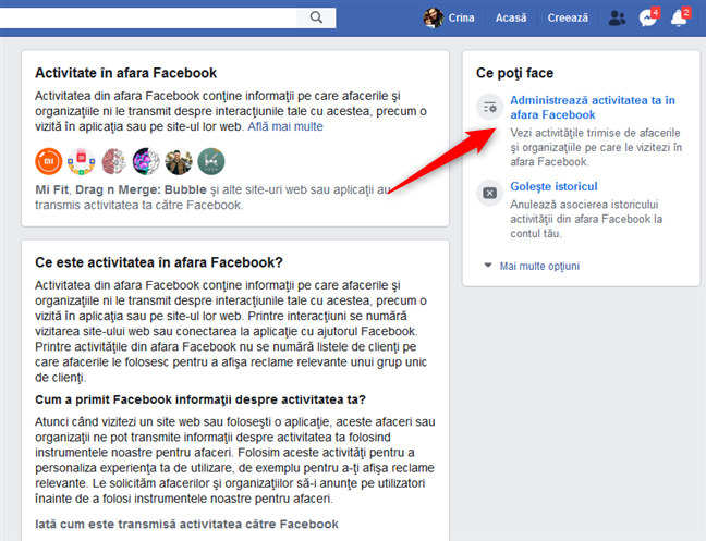 Administrează activitatea ta în afara Facebook
