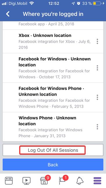 Deconectare de la toate sesiunile în Facebook pentru iOS