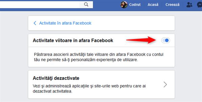 Dezactivarea comutatorului Activitate viitoare în afara Facebook