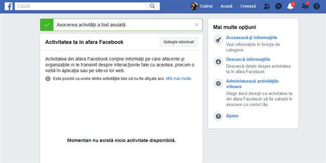 Istoricul tău din afara Facebook a fost șters