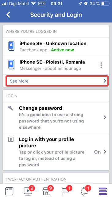 Vezi mai mult pentru a afișa toate dispozitivele conectate la Facebook