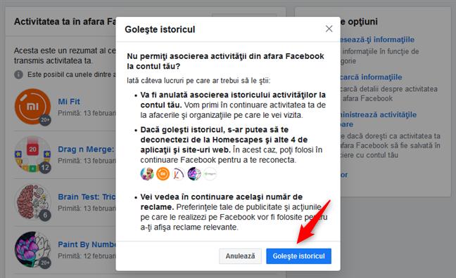 Confirmarea că vrei să îți ștergi istoricul activităților în afara Facebook