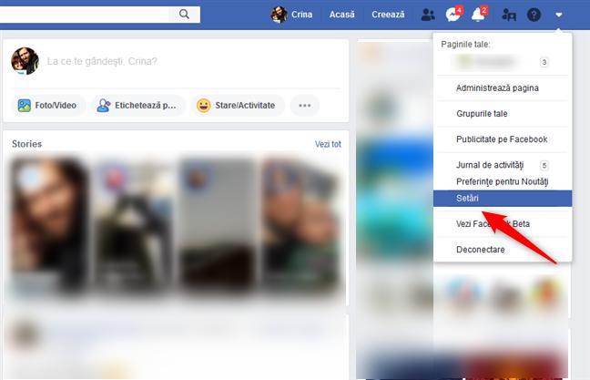 Accesarea Setărilor Facebook