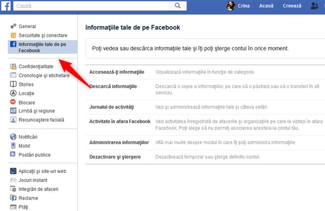 Secțiunea Informațiile tale de pe Facebook