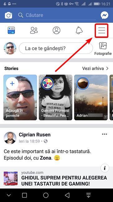 Apasă butonul de meniu în aplicația Facebook pentru Android