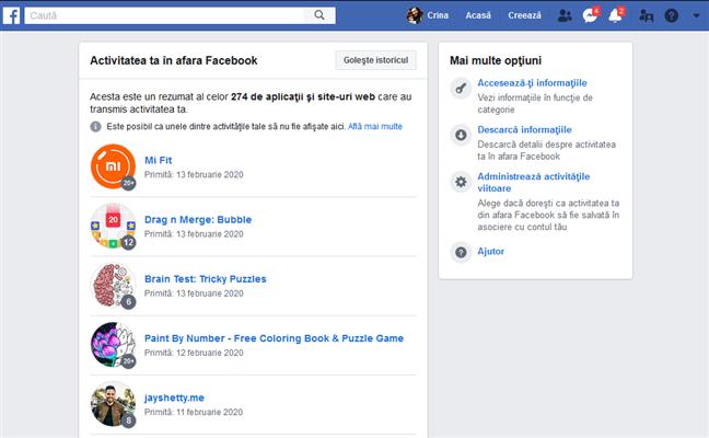 Activitatea ta în afara Facebook
