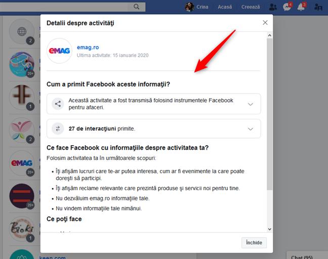 Detalii despre activitatea ta de la o aplicație la care te-ai autentificat cu contul de Facebook