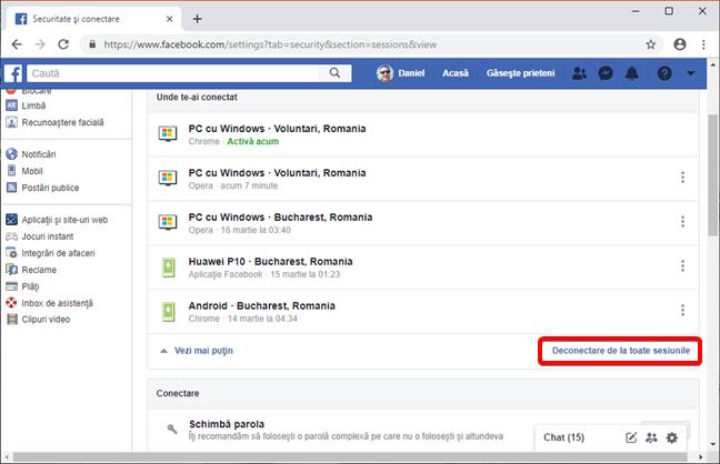 Deconectare de la toate sesiunile pentru contul tău de Facebook