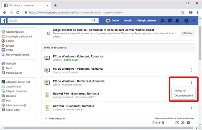 Acționează asupra unui dispozitiv conectat la contul tău de Facebook