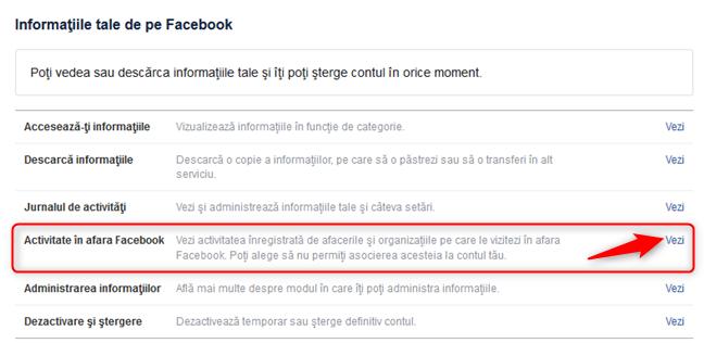 Opțiunea de a îți vedea activitatea în afara Facebook