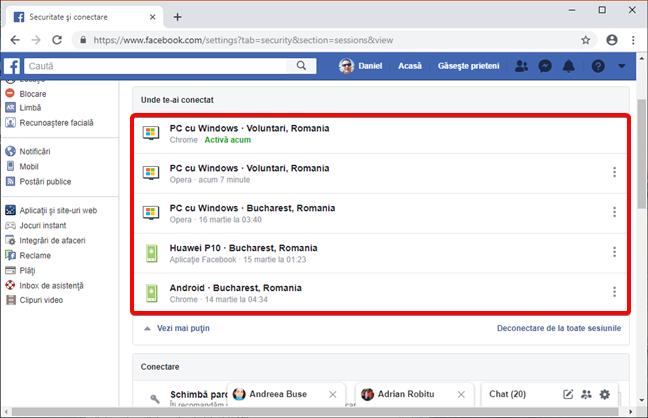 Lista completă de dispozitive conectate la contul tău de Facebook
