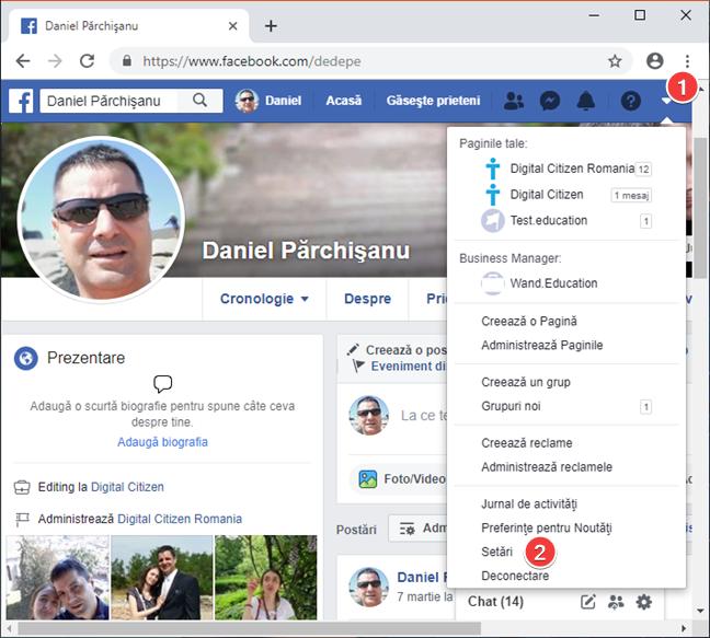 Deschide setările din Facebook pe PC-ul tău