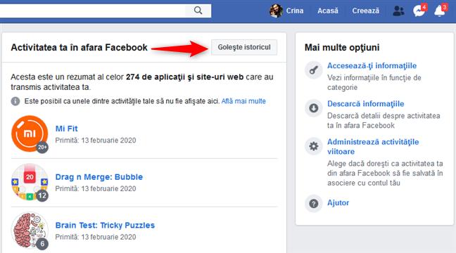Butonul Golește istoricul de pe pagina Activitatea ta în afara Facebook