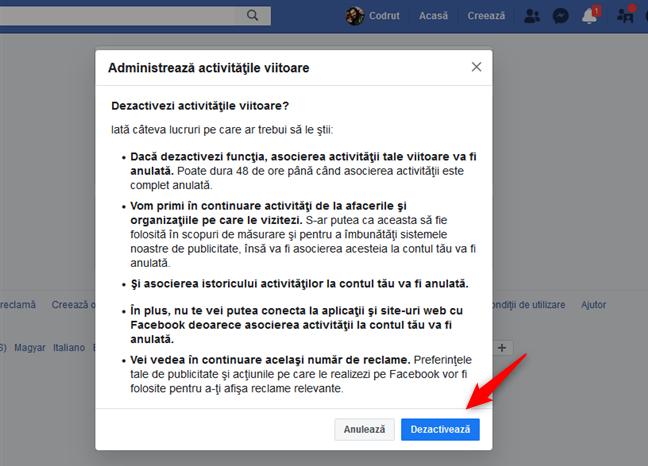 Confirmarea că vrei să dezactivezi activitățile viitoare din afara Facebook
