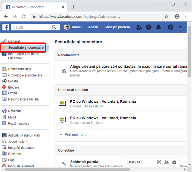 Deschide Securitate și conectare în Facebook