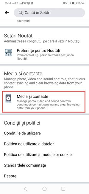 Facebook pentru Android - Apasă pe Media și contacte