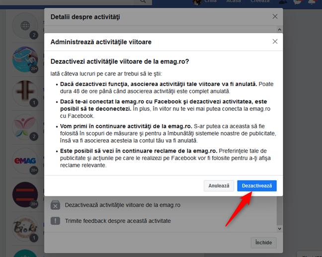 Confirmarea că vrei să dezactivezi activitățile viitoare de la un site sau aplicație