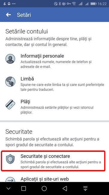 Apasă Securitate și conectare în Facebook pentru Android