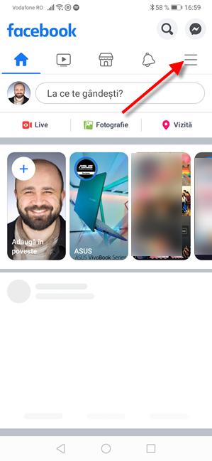 Facebook pentru Android - Apasă pe butonul Meniu